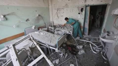 cảnh đổ nát tại một bênh viện ở dải Gaza